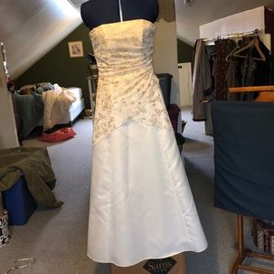 White evening gown by Debut; gold filigree